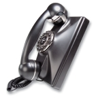 Single Line Retro Wall Phone Black