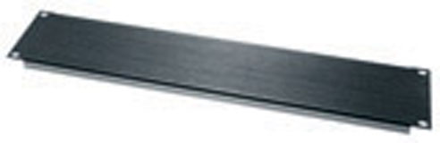 2 Space 3(1/2) Flanged Aluminum Blank Panel Black Brushed and Anodized